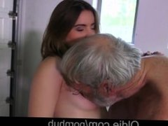 Jolly sensous Evelina provokes grandpa ass slap and fuck her