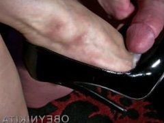 feet fuck and cum on shoe