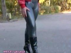 Spandex silver leggings