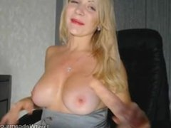 Busty blonde MILF dildoing her pussy and ass on webcam