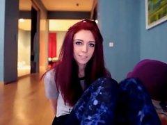 Redhead flashing pussy on LiveSpicyCams-Com
