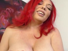 Busty Kiki Daire jerks off a cock