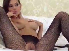 MIlf strips fingering in pantyhose