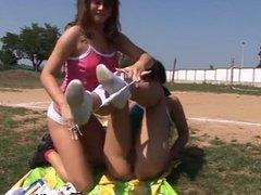 Brunette lingerie double penetration Sporty