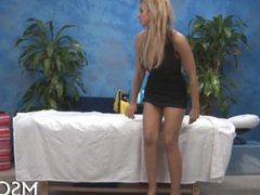 Hot babe massages dick with lips