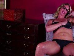 Blonde MILF undressing and masturbating