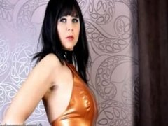German MILF superhero showing off in her latex dress