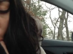 Car blowjob and swallow with Persian girl