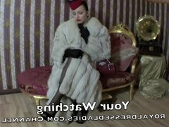 Stylish Classic Lesbian Ladies Long Fox Fur Satin Dress