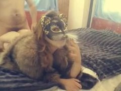 Smoking Fetish Sex in Cat Mask and Fur Coat (Sorry, no sound)