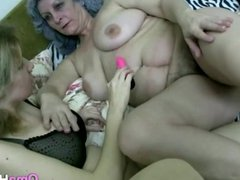 Gray Granny Eats Young Nurse Pussy