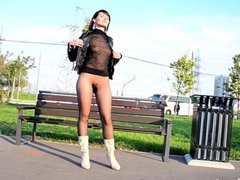 Pantyhose suit public flash by Jeny Smith