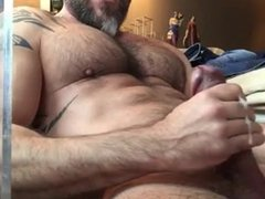 Muscle daddy solo masturbation