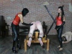 femdom spanks slave in spandex