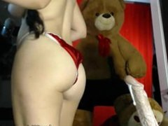 Hairy brunette rides dildo on webcam