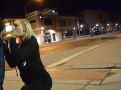 Great public blowjob on a street corner