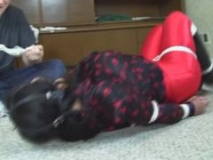 Hogtied Ring Gagged In Red Disco Pants