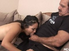 asian hottie with perky tits opens her legs for older guys dick