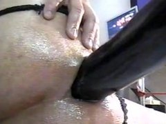 Big Black Cock mounted on ANAL MACHINE mounts 18 yr.old TEENS ASSHOLE