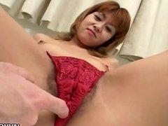 Asian redhead slut has a cock to suck on pov