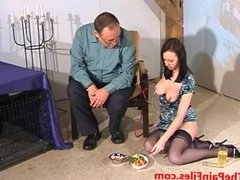 Nipple clamped Emily Sharpes bizarre food