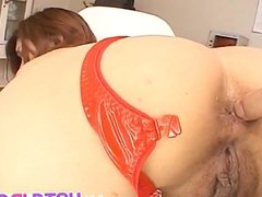 Rio Sakaki in red puts sex toys in asshole