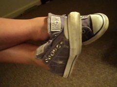 filipino  toe wiggling in Cum filled Sneakers