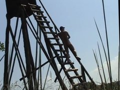 Humping the ladder of a raised stand