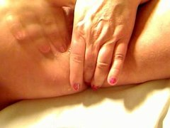close up of mature pussy fingered and squirting