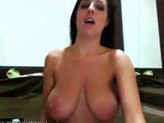 Busty brunette teasing on webcam