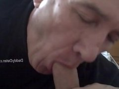 Grandpa Silverdaddy Slides his Lips up and Down Uncut Cock