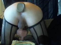 doggy anal big dildo anal toying in stockings