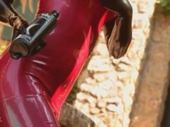 SHE PUTS HER LONG TIGHT LATEX GLOVES AND BECOME MISTRESS