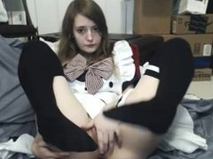 Cute Teen Rubs Tight Pussy on Webcam