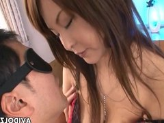 Asian busty bitch has a fat dick to suck on
