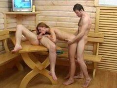 Ann + 2 guys (Sauna Creampie)