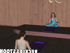 Sexy 3d yoga session turns into sexy toon fuck session