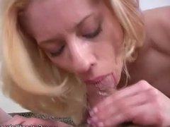 Blonde Blowjob Deserves a Cum in the Eye