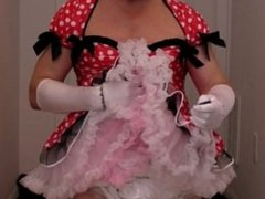 diapered sissybaby in red dress