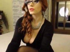 big boob redhead camgirl tease