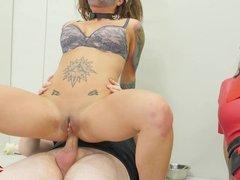 dgirl fucked in the ass by her psychiatrist & evil nurse