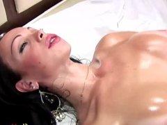 Latina t-girl with nice big tits jerks off