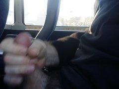 Jerking off on the bus. Cum shot.