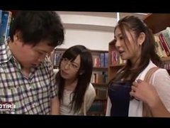 Japanese students intensely fucked in the library