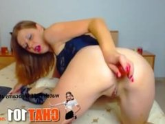 Ass Cams  Seductive redhead recklessly tears ass with toy  More at