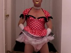 diapered sissybaby in pretty red dress triple
