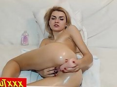 Blonde Babe Rubbing Her Shaved Pussy And Fuck