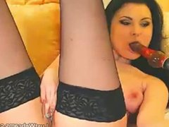 Brunette toys her pussy on webcam
