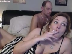 mature couple play on webcamera