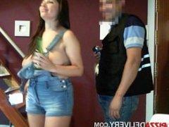 N@k3D Pizza D3LIV3R3Y - Zuzana Overalls - Big boobs